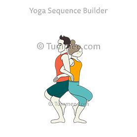 eagle pose arms interlocked back to back partner yoga