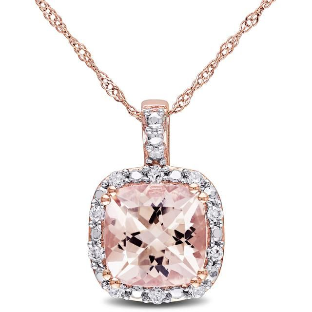 Sofia B 2 1/9 CT TW Morganite 10K Rose Gold Cushion-Cut Necklace with Diamond Accents