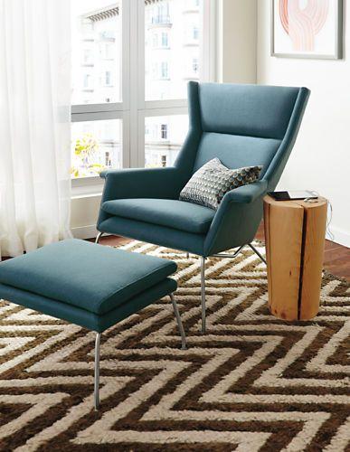 Aidan Chair Ottoman In Cambridge Fabric Recliners Lounge Chairs Living Room Board