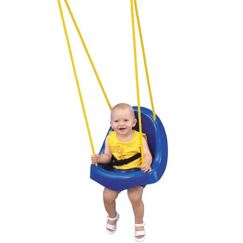 Child Swing by Swing-N-Slide. One-piece Child Swing by Swing N Slide, our unique design makes it easier to place and remove your child from the swing.    Child Swing by Swing N Slide Baby & Toddler Swings features a contoured high back supports neck and head. Seat belt keeps toddler safe and secure in the child swing. Promotes sensory development in your toddler.