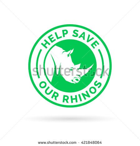 Help save and protect our endangered Rhinos from illegal hunting icon badge…