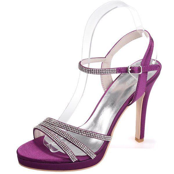 Zbeibei Women's Open Toe Ankle Strap Party Evening Dress Stain Bridal Stiletto Heel Shoes ZXF591516Silk(6 UK,purple)