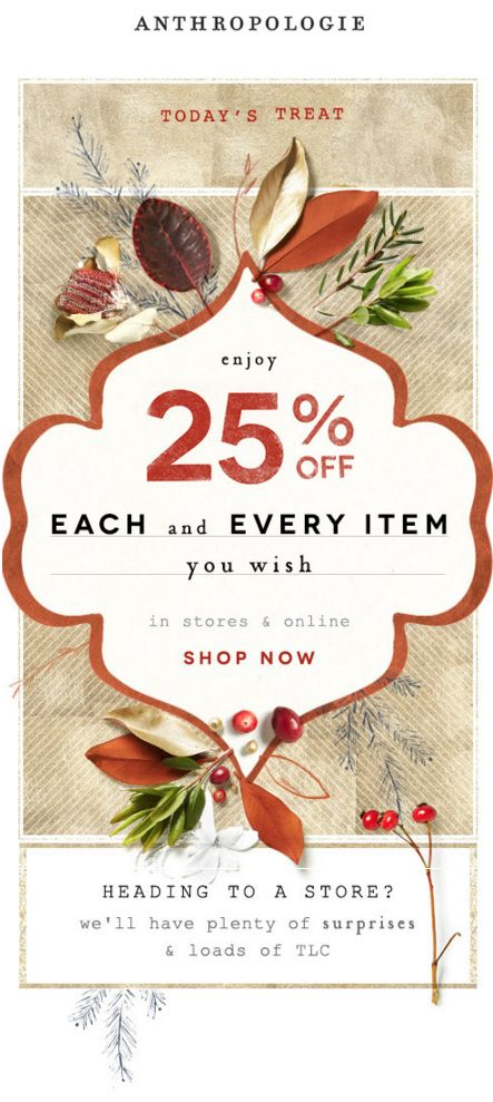 Anthropologie - Email Marketing Design Layout 2015