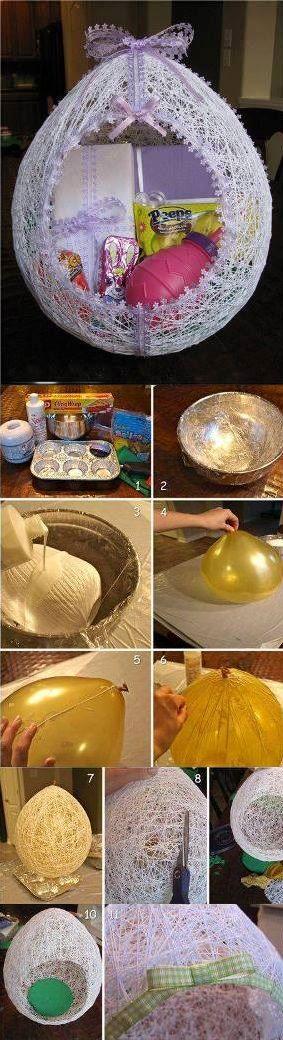 Egg Shaped Easter String Basket - DIY