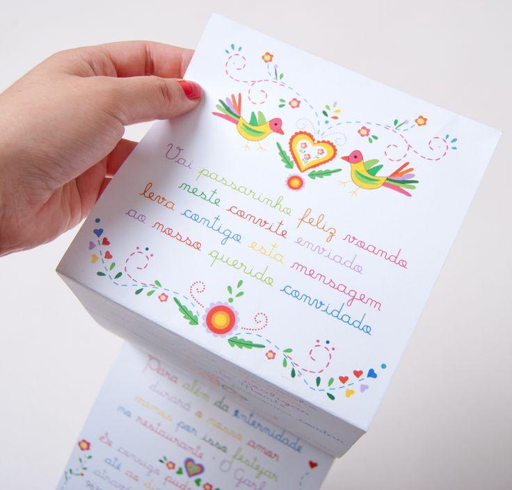 Convite com inspiração no bordado português Lenço dos Namorados