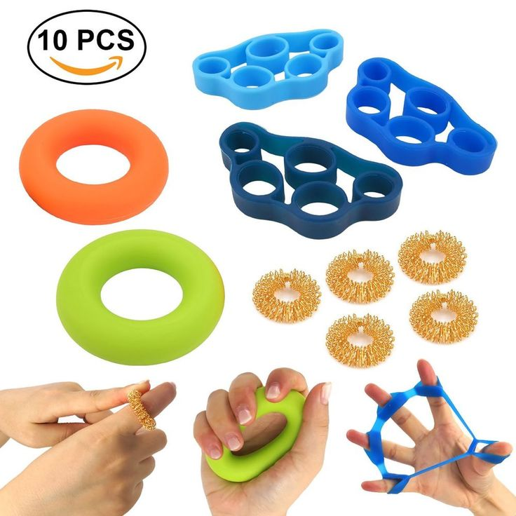 Finger Training Set Massage Rings Resistance Bands Grip Exercise Rings 10 Pieces #Jeicy