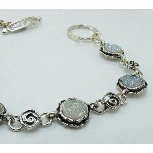 Silver Bracelet made with real flowers - Heart shaped links - includes giftbox cDFGYkWS