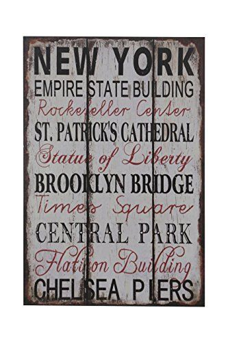 Premier Housewares New York Wall Plaque: Amazon.co.uk: Kitchen & Home