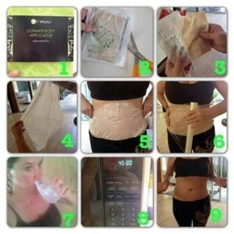 The wrap is so simple to use in the comfort of your own home! It only takes 45 minutes for the magic to start happening! Here is how: -Take Before Picture!!! Very Important!!  -Take it out of the package -Apply to your Target Area -Secure with a saran wrap, tight fitting clothing, or ace bandages. -Set your timer for 45 minutes -Remove and rub in -Take an AFTER PICTURE!! -Make sure to drink water!