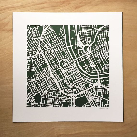Cut out map of Nashville, Tennessee