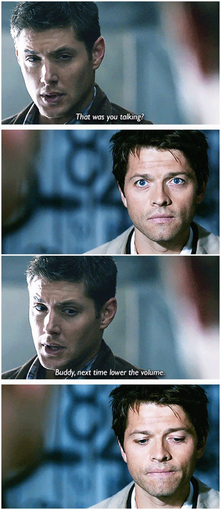 4x01 Lazarus Rising [gifset] -  Buddy, next time lower the volume -  #SPN #Dean #Castiel