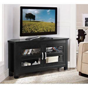black corner tv stand with glass doors