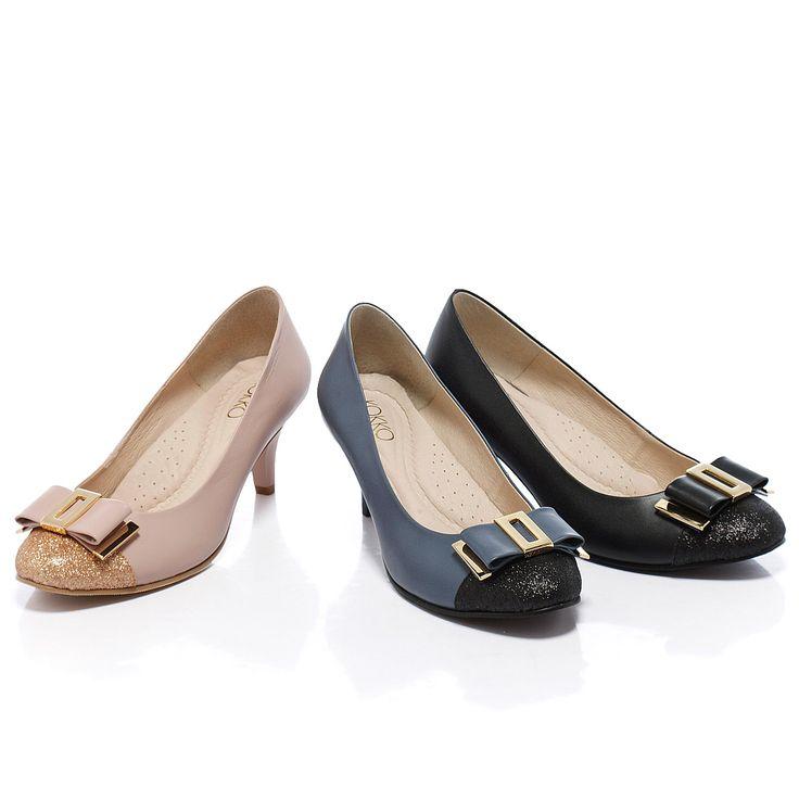 2380-通勤OL‧都會簡約金屬蝴蝶結牛皮跟鞋 - 經典黑 - 6.5cm