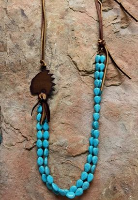 "TURQUIOSE JUNKIE INDIAN NECKLACE 2 STRANDS OF TURQUOISE OVAL STONES METAL INDIAN WITH LEATHER. Necklace Is 32"" Long."