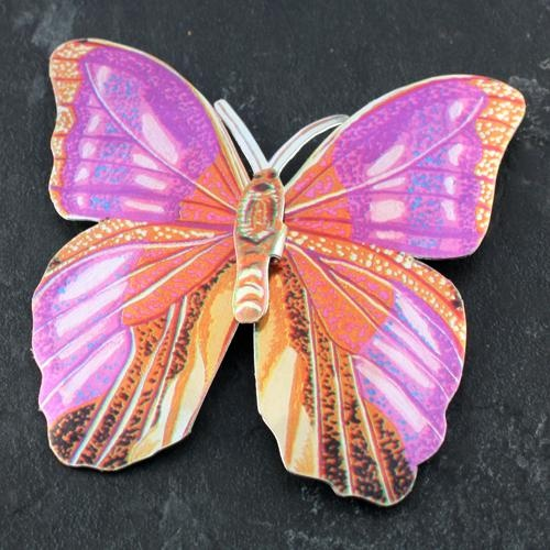 butterfly anodised aluminium brooch - large - pink and gold