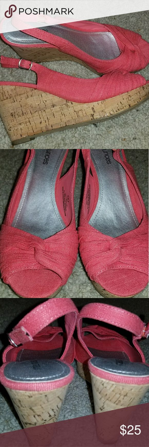 Maurices Coral Wedges Slingback wedges with coral fabric. Awesome condition! Maurices Shoes Wedges