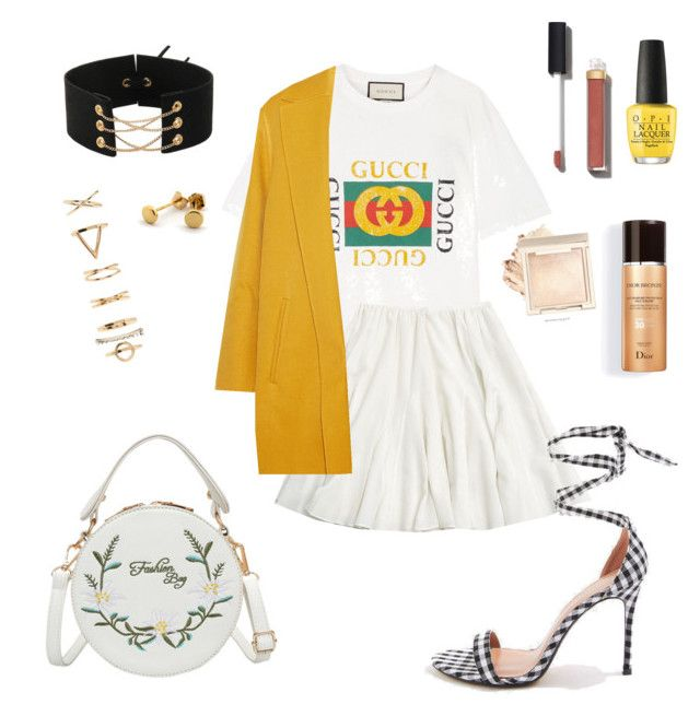 """""""Summer look"""" by sjglamm on Polyvore featuring Gucci, Rochas, Topshop, Forever 21, OPI and Chanel"""