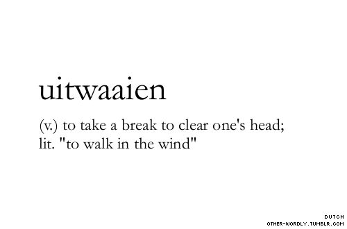 uitwaaien  (v) to take a break to clear one's head; lit. 'to walk in the wind'    Quest For An Authentic Life