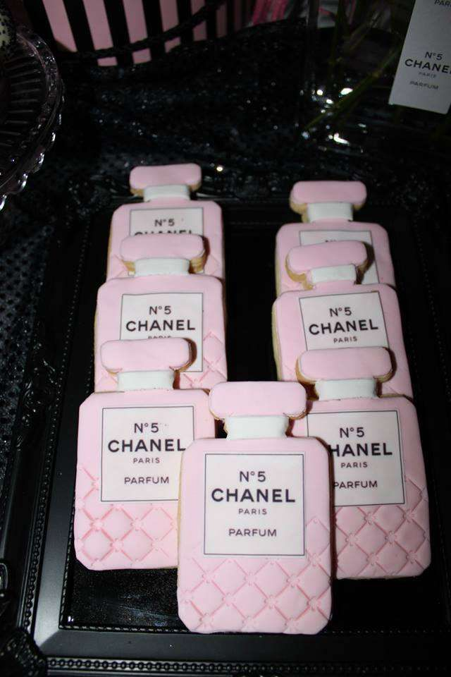 Decorated cookies at a Chanel birthday party! See more party ideas at CatchMyParty.com!