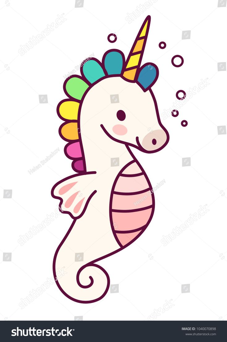 Cute unicorn sea horse vector cartoon illustration…