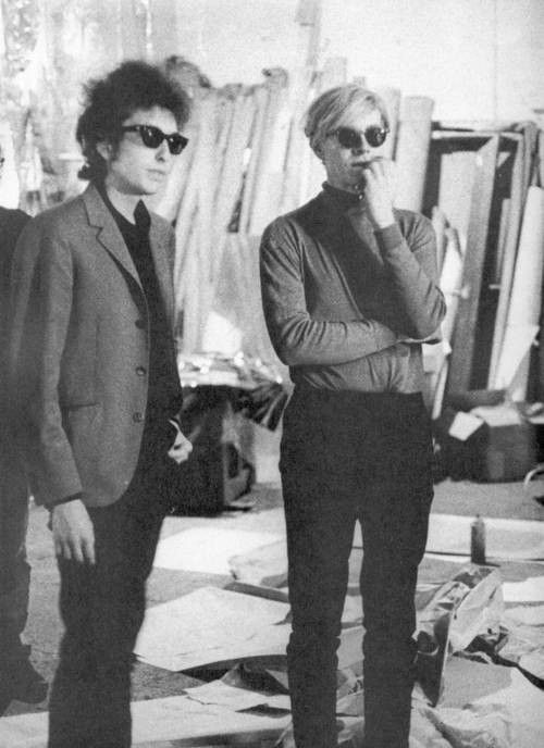 I'm thinkin its Dylan & Warhol in his studio..and even if they aren't in his studio.still a very cool pic