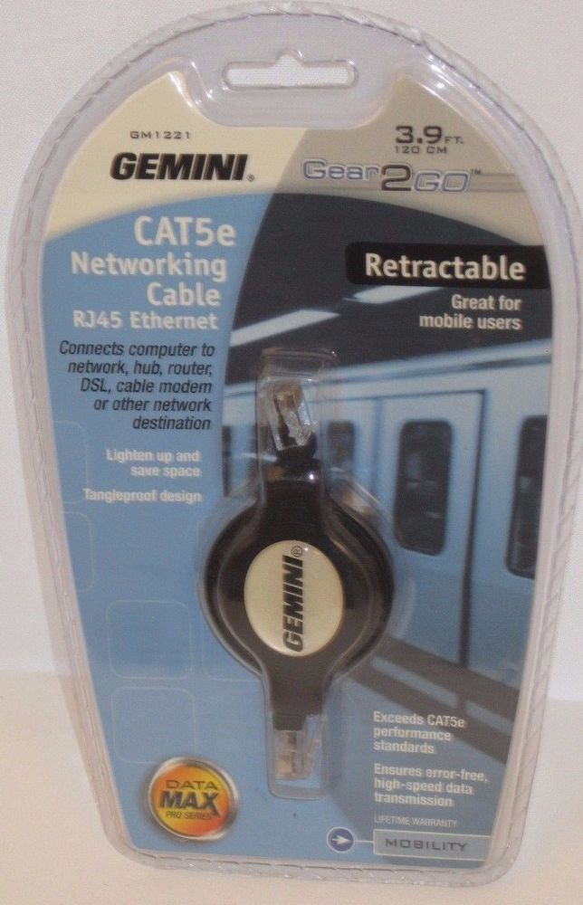 Gemini CAT5e Networking Cable RJ45 Ethernet Retractable Great for Mobile Users #Gemini