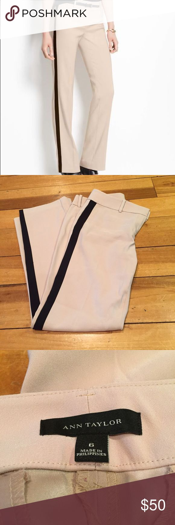 Ann Taylor tuxedo pants like new size 8 Tuxedo pants in tan and black by Ann Taylor, size 8. Worn less than 10 times, like new condition, perfect for work Ann Taylor Pants