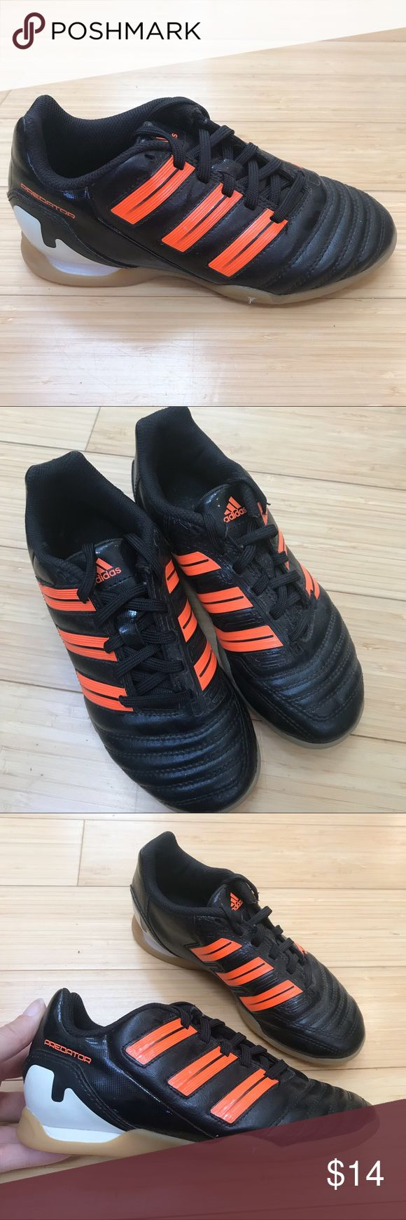 ADIDAS youth indoor soccer shoes, youth 1.5 1.5Y. Youth Adidas black and orange indoor soccer sneakers, size 1.5. Boy or girl. Used lightly for one season, still very good condition. A few pebbles in the soles. These show no wear. adidas Shoes Sneakers