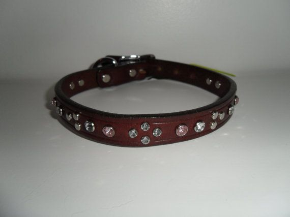 "Pink & Clear Bling on Chocolate Leather Dog by StarBoundWestern,   15"" Genuine Leather - $35.00"