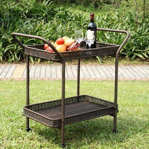 #Vintage #Serving #Cart #Patio #Espresso #Bar #Pool #Yard #Rattan #Portable #Wheels #Trolley #sales #usa #home #summer #party #drinks