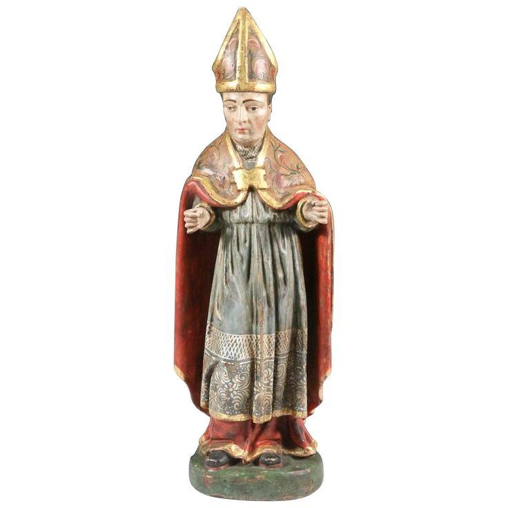 Saint Nicholas Carved Polychromed Santos Figure, Quito School, Late 18th Century