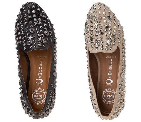 Jeffrey Campbell Elegant: cream and black studded loafers