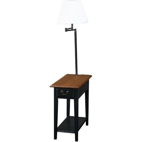Chairside End Table with Swing Arm Lamp in Black