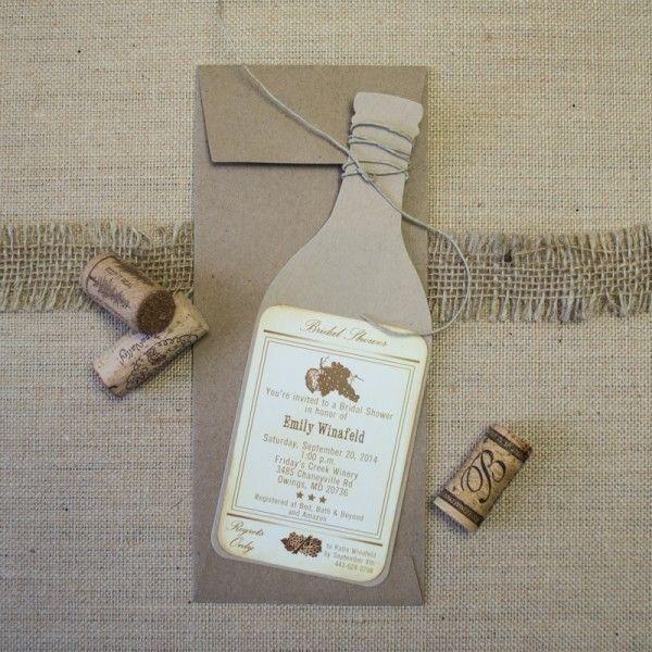 wine bottle bridal shower invitations