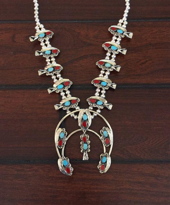 Vente ! Collier de fleur de courge véritable Turquoise et corail | Bijoux Navajo | Turquoise lune co