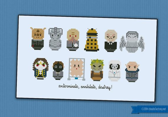 Doctor Who Villains parody  Cross stitch PDF by cloudsfactory, $9.50