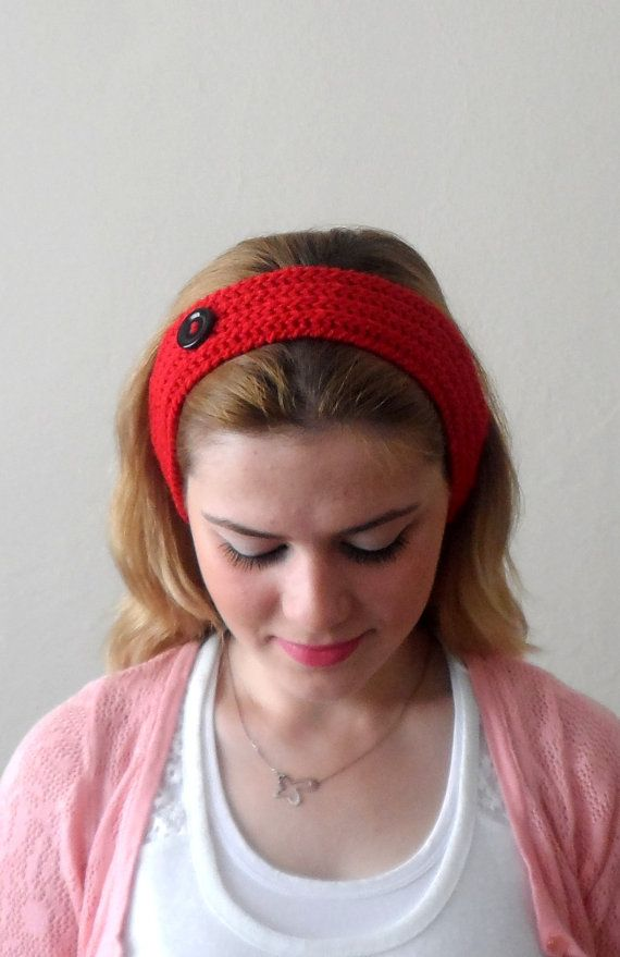 red knitted headband  buttons red hair bands knit headband