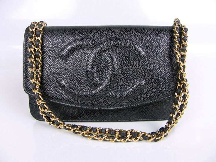 Chanel Black Caviar Timeless Classic Wallet on Chain WOC