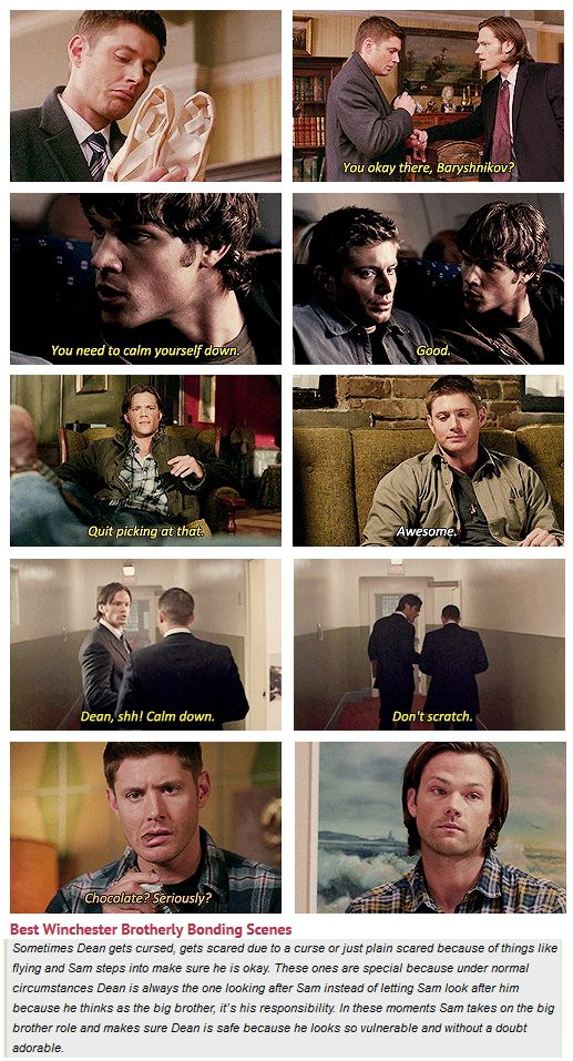 """Best Winchester Brotherly Bonding Scenes [gifset] - 7x16 Out With The Old, 1x04 Phantom Traveler, 4x06 Yellow Fever, 9x05 Dog Dean Afternoon."" We need more of these moments…"