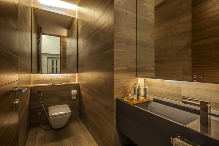 All wood powder room