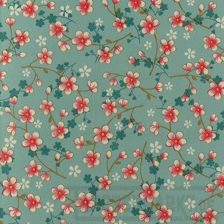 Cherry Blossom in hellblau   Tapeten nach Muster Blumentapeten - - Tapetenmarkt.de