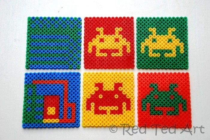 hama bead coasters space invaders