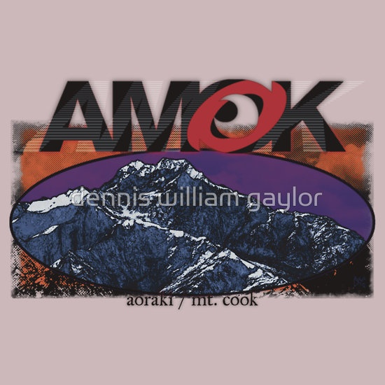 AMOK - aoraki / mt. cook run amok in the Southern Alps ..  T-Shirts & Hoodies by dennis william gaylor, custom illustrated posters, prints, tees. Unique bespoke designs by dennis william gaylor .:: watersoluble ::.