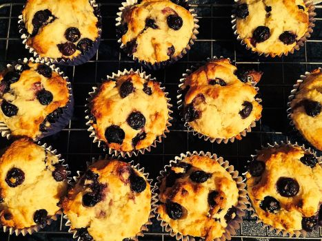 Blueberry Muffins - delicious, light and low fat. A healthy cake option