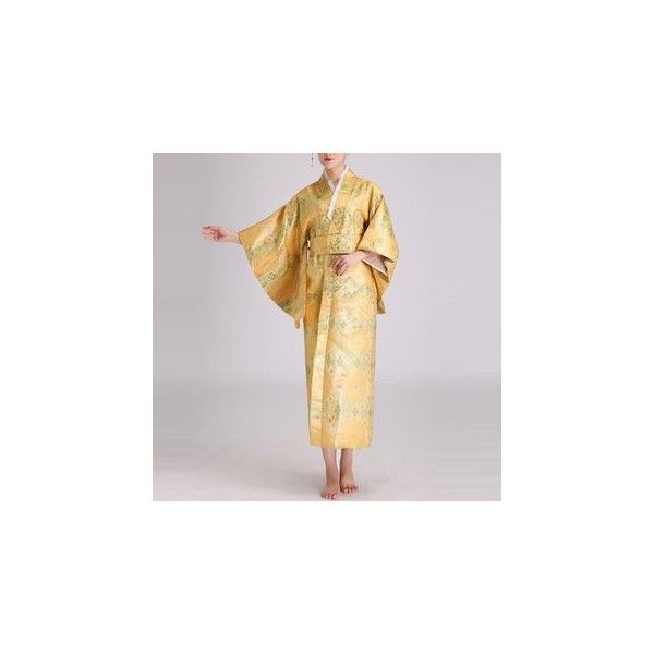 Traditional Japanese Costume (38 CAD) ❤ liked on Polyvore featuring costumes, dresses, women, womens costumes, womens halloween costumes, lady costumes, yellow costume and ladies halloween costumes