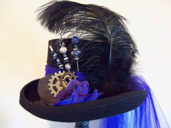 Steampunk Hat, Stempunk Wedding, Cobalt Blue Hat, Victorian Hat, Grey Ghost Toppers, Victorian Hat, Kentucky Derby, Victorian Riding Hat
