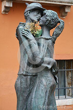 Romantic statue in the town of Bassano del Grappa, in Veneto, Italy, Europe.