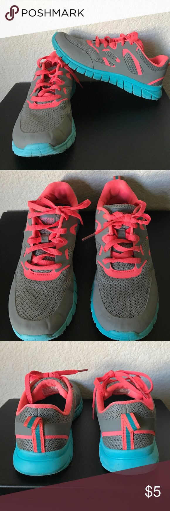 Girls tennis shoes Grey, coral and blue shoes. Worn a few times so still in great condition. Danskin Now Shoes