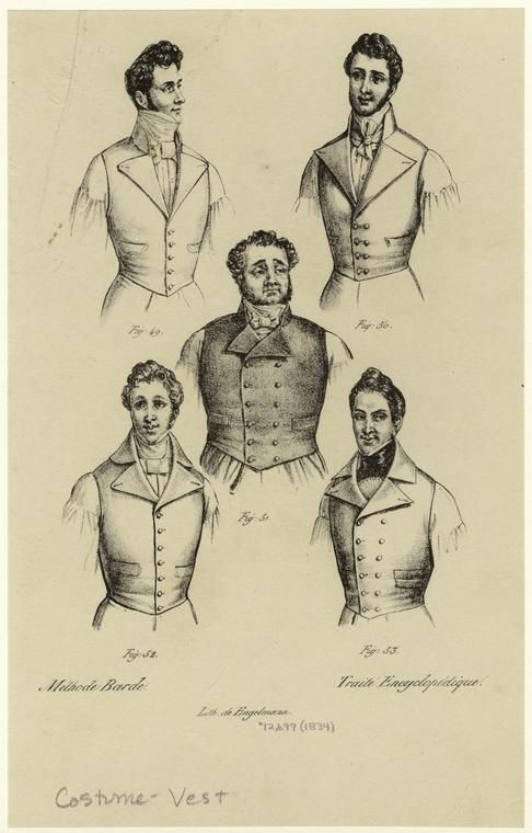 Men would wear waistcoats underneath their jackets. Jack would wear a black waistcoat to go along with his black suit. I like the bottom right one. It is fancier and 'screams' high class.