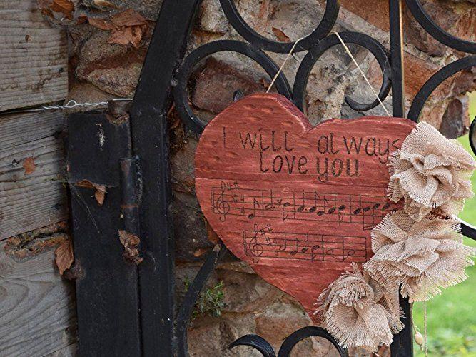 Rustikale Holz Herz verzierung Hochzeitsgeschenk Türhängen Graviertes personifiziertes Herz Rustikale Hochzeit Holzschild dekor Liebe Musik Lied Landdekor Musik freund geschenk Rustikale Dekor Häuschen